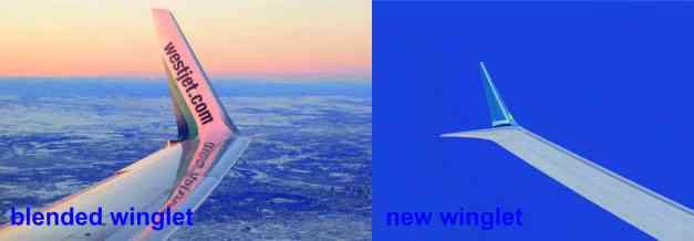 Kiri blended winglet 737 lama, kanan new winglet 737 Max...