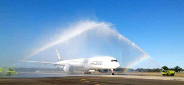 Airbus A350 water salute