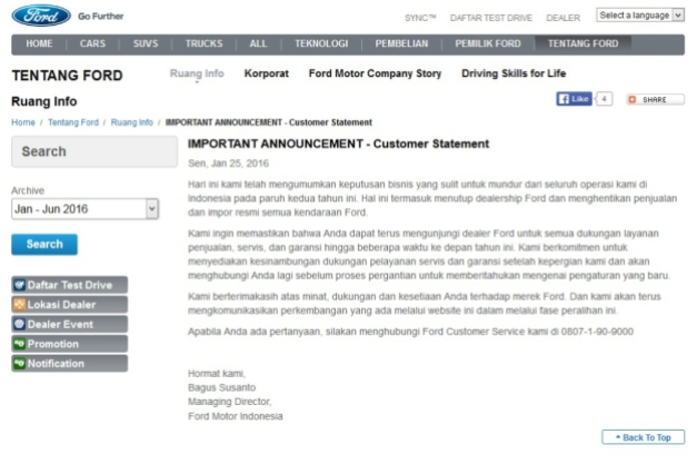 Ford Indonesia tutup