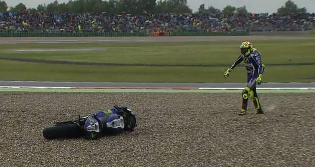 Valentino Rossi crash in Assen