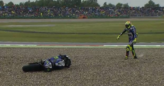 Valentino Rossi crash in Assen